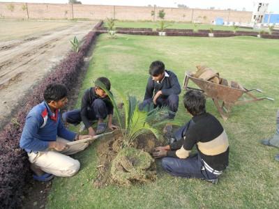 Boys in Machike Boarding School Working to Make Their Campus Look Beautiful