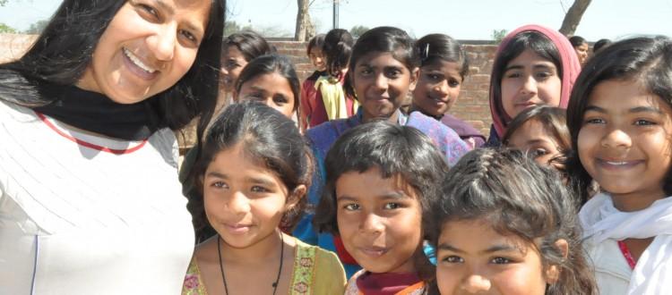 Edline Ditta With Girls in Machike Boarding School