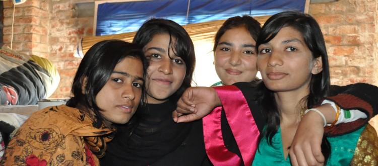 Girls in Their Dorm in Machike Boarding School Posing as a Group of Friends